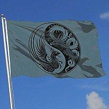 wallxxj Fahne Weiß Und Schwarz Dragon Breeze Flag