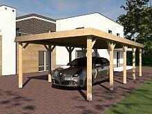 Walmdach Carport SIEGERLAND I 400x800 cm Leimbinder Fichte