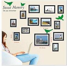 Walplus - 'Sweet Memory' Moderne Vogel Foto Rahmen Wand Sticker Dekoration