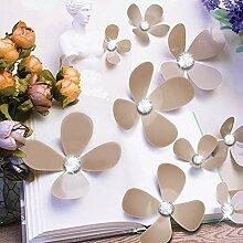 Walplus Kristall 3D Braun Blumen Wandsticker,