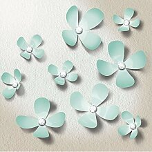 Walplus Kristall 3D Minze Blumen Wandsticker,