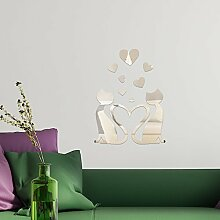 Walplus Spiegel Art Wand Kristall Lovely Cat Wand Aufkleber abnehmbare Wandbild Aufkleber Vinyl Home Dekoration DIY Living Schlafzimmer Décor Kids, Silber