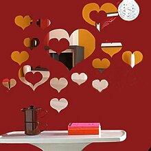 Walplus Spiegel Art Wand romantische Herzen Wand Aufkleber abnehmbare Wandbild Aufkleber Vinyl Home Dekoration DIY Living Schlafzimmer Dekor, silber