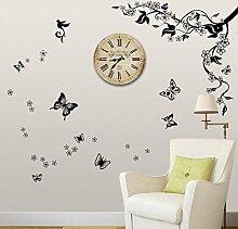 Walplus (TM) Wandsticker Vintage Retro Schäbig Schick Schmetterling Kletterpflanze Rom 1899 Innen Design Wand Sticker Uhr Kunst Dekoration