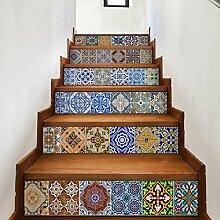 Walplus Vintage Spanish Fliesen Treppen Aufkleber,