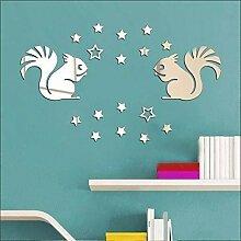 Walplus Wand Kunst Cartoon Eichhörnchen Kunststoff Wand Aufkleber abnehmbare Wandbild Aufkleber Vinyl Home Dekoration DIY Living Schlafzimmer Décor Kids, Silber