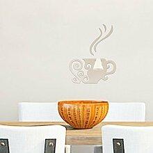 Walplus Wandsticker Art Kaffee Tasse Wand Aufkleber abnehmbare Wandbild Aufkleber Vinyl Home Dekoration DIY Living Schlafzimmer Décor Kids, Silber