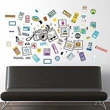 Walplus Wandsticker selbstklebend Wand Aufkleber Gepäck Etiketten Bilderrahmen Art Decals Home Restaurant Dekoration DIY Living Schlafzimmer Dekor 130cm x 60cm, mehrfarbig