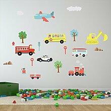 Walplus Wandsticker selbstklebend Wand Aufkleber Kinderzimmer Kinder Kinder Jungen Mädchen Cars Transport Wandbild Kunst-Abziehbilder Vinyl Home Dekoration DIY Living Schlafzimmer Dekor Tapete 125 x 85 cm, Mehrfarbig