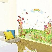 Walplus Wandsticker Wand Aufkleber Papier Kunst Dekoration Rosa Windmühle Kinderzimmer Kinder