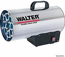 WALTER Gasheizkanone 19000 aus hochwertigem Edelstahl mit Piezozündung und Propankonstantregler. Verwendbar mit handelsüblichen LPG-Mehrwegflaschen