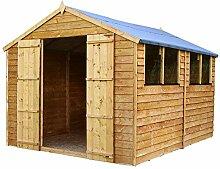 Waltons Geräteschuppen/Gartenhaus, aus Holz, Überfälzung, spitz zulaufendes Dach, 3,7x2,4m