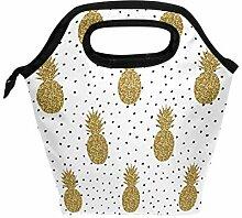 Wamika Lunchbox mit goldenem Glitzer Ananas und