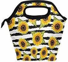 Wamika Lunchbox mit Sonnenblumen-Motiv, schwarz,