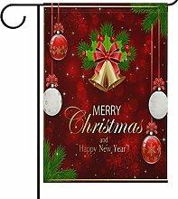 Wamika Weihnachtsflagge mit roten Schneeflocken,