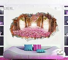 Wand-Aufkleber (rosa Spur) - gebrochene Wand / Loch in der Wand / zerschmetterte Wand 3D Blick - Wanddekor für Schlafzimmer / Wohnzimmer / Kinderzimmer - Schale und Stick mach es selbst - Selbstklebendes Vinyl Abziehbild