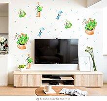 Wand-Aufkleber Wandtattoo Blumentopf PVC