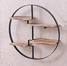 Wand Bücherregal Runder Eisen-Aufbewahrungs-Regal-Retro- Massivholz-Wand-Trennwand-Regal-Regal Küchenregal Regale