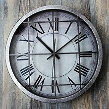 Wand Dekorationen Uhr LOFT Industrial Retro Einfache Air Wanduhr Dekoriert Bar ( Farbe : Schwarz )