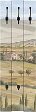 Wand-Garderobe Artland 3 Holz-Paneele mit gusseisernen Haken A. Heins Toskanisches Tal I Größe 140 x 45 x 2,8 cm