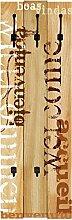 Wand-Garderobe Artland 3 Holz-Paneele mit gusseisernen Haken W. L. Willkommen Größe 140 x 45 x 2,8 cm