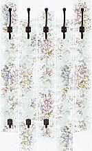 Wand-Garderobe Artland 5 Holz-Paneele mit gusseisernen Haken tanginuk1205 Blumen mit nahtlosem Muster im Hintergrund Größe 114 x 68 x 2,8 cm