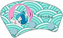 Wand-Garderobe mit Namen Femke und schönem Motiv mit Meerjungfrau in türkis für Mädchen | Garderobe für Kinder | Wandgarderobe