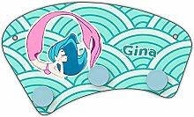 Wand-Garderobe mit Namen Gina und schönem Motiv mit Meerjungfrau in türkis für Mädchen | Garderobe für Kinder | Wandgarderobe