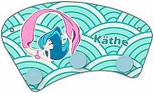 Wand-Garderobe mit Namen Käthe und schönem Motiv mit Meerjungfrau in türkis für Mädchen | Garderobe für Kinder | Wandgarderobe