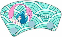 Wand-Garderobe mit Namen Marisa und schönem Motiv mit Meerjungfrau in türkis für Mädchen | Garderobe für Kinder | Wandgarderobe
