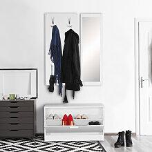 Wand Garderobe mit Spiegel & Schuhschrank
