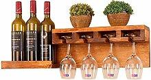 Wand Holz Weinregal mit Glashalter für Wohnkultur