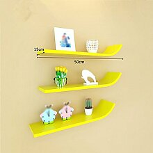 Wand-J-Regal / wandmontiertes Gitterregal / Wohnzimmer Wand-Schrank / wandmontierter Vitrinenschrank / Wand-Regal / mehrfarbig optional / 3-Regal / Wand-Regal / ( Farbe : Gelb )