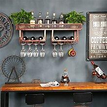 Wand-Kleiderbügel Weinflasche Rack Rotwein Glas Rahmen umgedreht Bar Eisen Weinregal kreative Wand Weinschrank hängen Tasse Inhaber Weinregale ( Farbe : Braun )