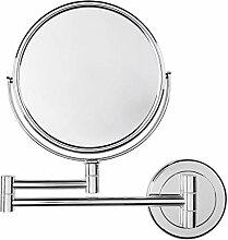 Wand-Kosmetikspiegel rund, 16x32cm (DxL), silber,