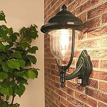 Wand-Laterne grün + Bewgungssensor | Außenleuchte rund | Deko-Laterne IP44 | Wandleuchte / Wandbeleuchtung | Außenwandleuchte E27 + wasserfest & kratzfest + Terrassenbeleuchtung + Aluminium