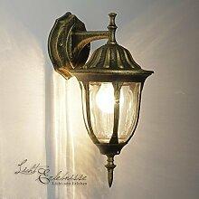 Wand-LED Energiespar-Außenleuchte 5 Watt in Antik-Gold Wandlampe