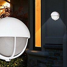 Wand Leuchte AUSSEN Ø240mm/ Weiß/ Alu/ Lampe Aussenlampe Aussenleuchte Wandlampe Wandleuchte