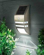 Wand Leuchte Solar Lampe Außenleuchte mit Bewegungsmelder 2 LEDs Edelstahl Glas - Edelstahl Außenbeleuchtung mit Bewegungsmelder und Solar LED