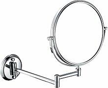 Wand-Make-up-Spiegel Teleskop-Badezimmer Fold Beauty Mirror Lupe , chrome , 8 inch nail free 3x