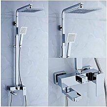 Wand-Mischbatterie-Dusche-Satz mit quadratischem Dusche-Kopf und Handdusche-Halter