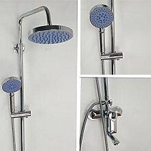 Wand-Mischbatterie-Dusche-Satz mit runder Dusche-Kopf und Handdusche-Halterung , A