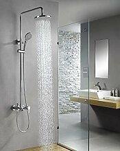 Wand-Mischbatterie-Duschset mit Messing-Duschkopf und Handbrause-Halterung