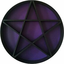 Wand-Regal Wooden Pentagram Ø 60cm in verschiedenen Farben (schwarz/lila)