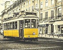 Wand Schurken wr50538Vintage Straßenbahn–Wand einkleistern Tapete Wandbild–300cm x 240cm–Gelb