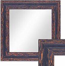 Wand-Spiegel 26x26 cm im Holzrahmen Dunkelbraun Shabby-Chic Vintage Quadratisch / Spiegelfläche 20x20 cm