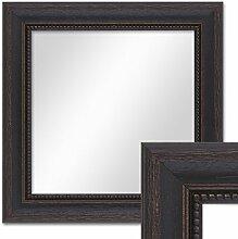 Wand-Spiegel 26x26 cm im Massivholz-Rahmen Landhaus-Stil Dunkelbraun Quadratisch / Spiegelfläche 20x20 cm