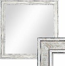 Wand-Spiegel 34,5x34,5 cm im Holzrahmen Pastell Vintage Look/Alt-Weiß Silber Quadratisch/Spiegelfläche 30x30 cm