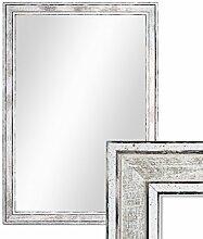 Wand-Spiegel 34,5x44,5 cm im Holzrahmen Pastell Vintage Look/Alt-Weiß Silber/Spiegelfläche 30x40 cm