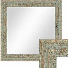 Wand-Spiegel 36x36 cm im Holzrahmen Grau-Grün Shabby-Chic Vintage Quadratisch / Spiegelfläche 30x30 cm